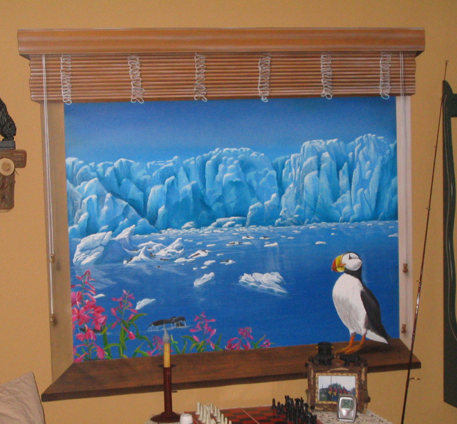window blinds with art painting   defendbigbird