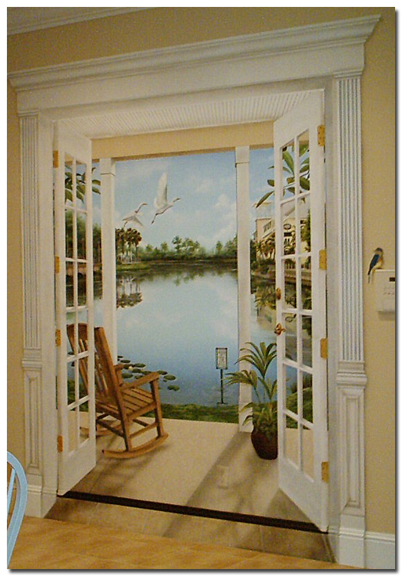 Trompe l 39 oeil celebration florida mural painted by art for Door wall mural