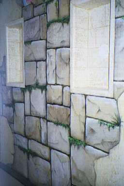 Faux finish stones trompe l 39 oeil and murals painted by for How to paint faux marble wall