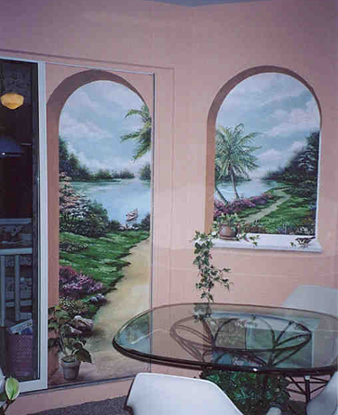 garden path trompe l 39 oeil and murals painted by art effects. Black Bedroom Furniture Sets. Home Design Ideas