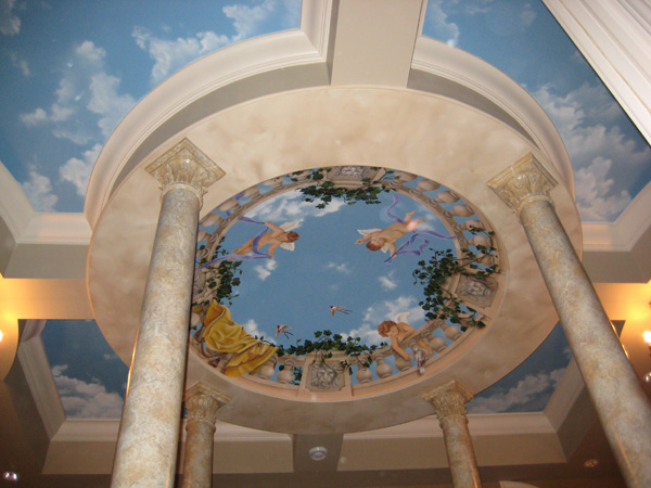 Trompe l 39 oeil ceiling murals painted ceiling murals by for Ceiling mural sky