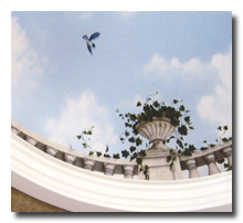 trompe l'oeil dome mural with urn