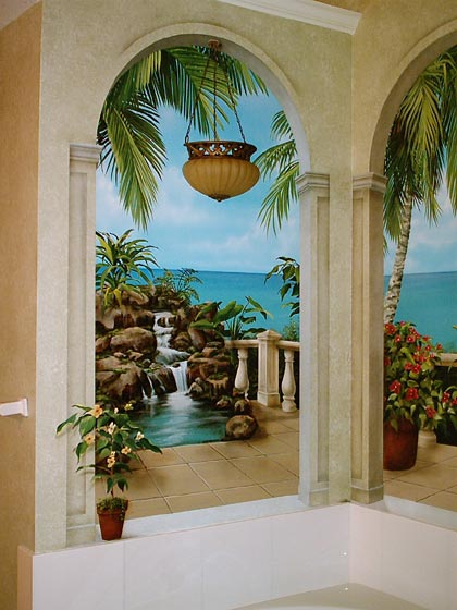 tropical murals a tropical paradise painted by art effects. Black Bedroom Furniture Sets. Home Design Ideas