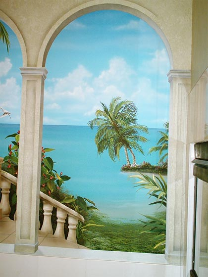 Murals window wall paintings on pinterest wall - Sticker trompe l oeil mural ...